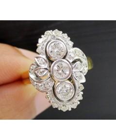 แหวน เพชรโบราณ ทรงมาคีย์ 3/0.45 ct ฝังเพชรกุหลาบ 24/0.40 ct ทองK 2 สี งานเก่า หลุดจำนำ นน. 4.86 g