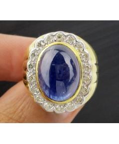 แหวน ไพลิน หลังเบี้ย ล้อมเพชร 18 เม็ด 0.36 กะรัต ทอง90 งานสวยมาก นน. 11.02 g