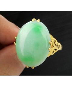 แหวน หยก พม่า หลังเบี้ย ฉลุลาย ทอง90 งานเก่า หลุดจำนำ นน. 9.63 g