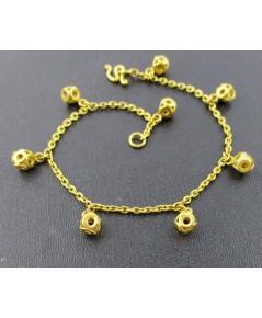 สร้อยข้อมือ ทอง100 ลูกเต๋า ฉลุลายกลม ตุ้งติ้ง ทองเก่า งานโบราณ หายาก นน. 7.53 g