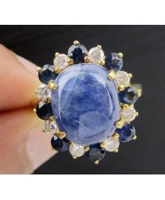 แหวน นิหร่า (ไพลิน) หลังเบี้ย ล้อมไพลิน เจียร สลับเพชร 8 เม็ด 0.32 กะรัต ทอง90 งานสวยมาก นน. 6.24 g
