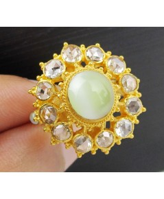 แหวน ไพฑูรย์ ตาแมวล้อมเพชรซีกลูกโลก 12 เม็ด 1.00 กะรัต ทอง90 งานสวยมาก นน. 8.79 g