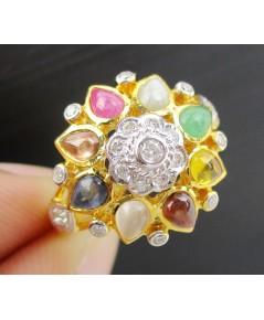 แหวน นพเก้า ทรงฉัตร ฝังเพชร 20 เม็ด 0.12 กะรัต ทอง90 งานเก่า สวยมาก นน. 4.72 g