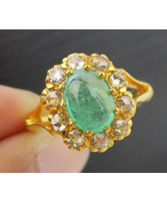 แหวน มรกต หลังเบี้ย เนื้อแก้ว ล้อม เพชรซีกลูกโลก ทอง90 งานเก่า สวยมาก นน. 4.43 g