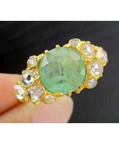 แหวน มรกต เจียร บ่าข้าง เพชรซีกลูกโลก ทอง90 งานเก่า สวยมาก นน. 3.20 g