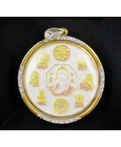 เหรียญเจ้าพ่อเสือ เสาชิงช้า รวมพลังศักดิ์สิทธิ์ เนื้อเงิน 3 กษัตริย์ เลี่ยมทอง นน. 32.08 g