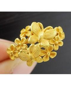 แหวน Prima Gold ทอง24K ฉลุลาย ผีเสื้อ ดอกไม้ งานสวย น่ารักมาก นน. 4.90 g