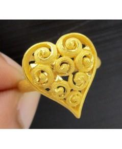 แหวน Prima Gold ทอง24K ฉลุลาย หัวใจ ก้นหอย งานสวยมาก นน. 7.24 g