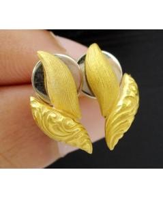 ต่างหู Gold Master ทอง24K รูปเมล็ดข้าว แกะลาย งานสวย น่ารักมาก นน. 5.56 g