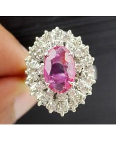 แหวน ทับทิม พม่า  (unheat)  สีชมพูสวย ล้อมเพชรกุหลาบ 2 ชั้น 36 เม็ด 0.50 กะรัต งานทองขาวโบราณ(ปาหะ)