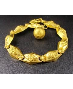 สร้อยข้อมือ ทอง100 ลายประจำยาม ลูกโลก ตุ้งติ้ง ทองเก่า งานโบราณ หายาก นน. 15.31 g