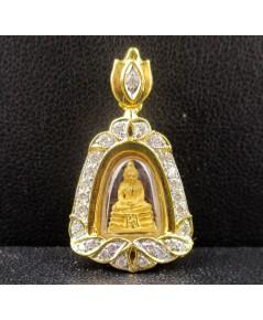 พระหลวงพ่อโสธร เนื้อทองคำ กรอบทอง ฝังเพชร 27 เม็ด 0.32 กะรัต นน. 4.56 g