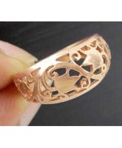 แหวน Pink gold ทอง9K ฉลุลาย ตำลึง หลุดจำนำ งานสวย น่ารักมาก นน. 2.43 g