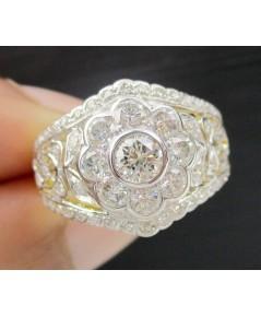 แหวน เพชรกระจุก 9/0.60 ct ฉลุลาย ฝังเพชรเกสร 48/0.14 ct ทอง90 งานสวยมาก นน. 5.08 g