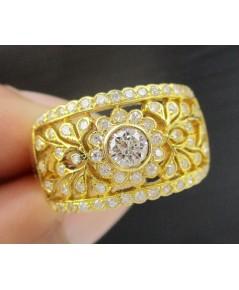 แหวน เพชรเดี่ยว 0.20 กะรัต ฉลุลาย ฝังเพชรเกสร 66 เม็ด 0.60 กะรัต ทอง90 งานสวยมาก นน. 5.92 g