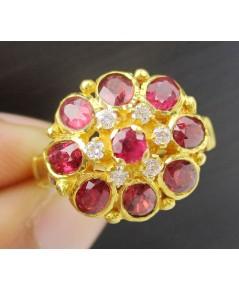 แหวน ทับทิม เจียร กระจุกทรงพุ่ม ฝังเพชร 6 เม็ด 0.09 กะรัต ทอง90 งานก่า หลุดจำนำ สวยมาก นน. 4.23 g