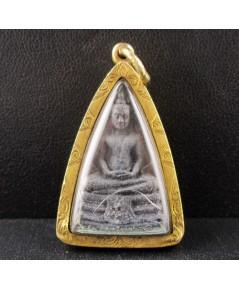พระกริ่ง หลวงพ่อโสธร ภปร. เนื้อทองแดงรมดำ ปี 2535 เลี่ยมทองเก่า นน. 14.54 g