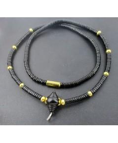 สร้อยคอ กะลา เม็ดประคำ คั่นเม็ดทอง ห้อยพระ 5 องค์ ทอง90 งานเก่า หลุดจำนำ สวยมาก นน. 14.78 g