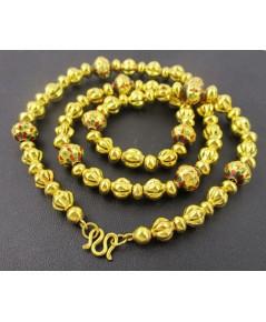 สร้อยคอ เม็ดประคำ คั่นเม็ดทองลงยา รอบเส้น ทอง96.5 งานเก่า ทองโบราณ นน. 31.58 g