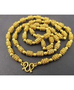 สร้อยคอ ทอง100 ฉลุลาย ปะวะหล่ำ คั่นเม็ดกลม รอบเส้น งานเก่า ทองโบราณ สวยมาก นน. 35.38 g