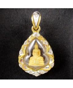 พระหลวงพ่อโสธร เนื้อทองคำ กรอบทอง ฝังเพชร 11 เม็ด 0.12 กะรัต นน. 4.31 g