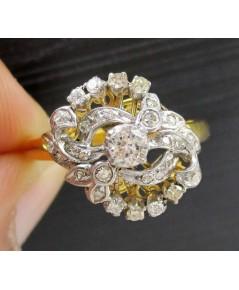 แหวน เพชรชูโบราณ 1/0.15 ct ฝังเพชรกุหลาบ 30/0.36 ct งานทองK 2 สี หลุดจำนำ นน. 3.16 g