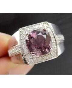แหวน ทับทิม สยาม (ไม่เผา) ฝังเพชรข้าง 32 เม็ด 0.30 กะรัต ทอง90 เพชรขาว พลอยสวย หายาก นน. 8.55 g