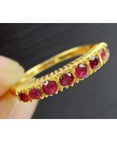 แหวน แถวทับทิม จันฯ 8 เม็ด ทอง90 หลุดจำนำ งานสวยมาก นน. 1.99 g
