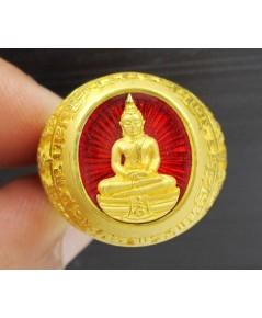 แหวน พระพุทธโสธร วัดโสธร สร้างอุโบสถ ปี ๒๕๔๕ เนื้อทองคำลงยา ตอกโค้ด ๘๙๘ สวยน่าสะสม นน. 15.74 g