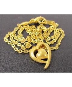 สร้อยคอ + จี้ หัวใจ ฉลุลาย Prima Gold ทอง24K งานสวย น่ารักมาก นน. 7.96 g