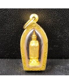รูปหล่อ หลวงพ่อโต วัดอินทรวิหาร บางขุนพรหม กะไหล่ทอง เลี่ยมทองเก่า นน. 2.10 g