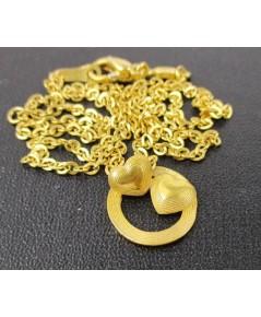 สร้อยคอ + จี้ ฉลุลาย หัวใจคู่  Prima Gold ทอง24K งานสวย น่ารักมาก นน. 7.02 g