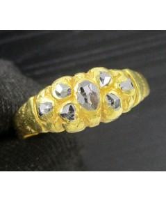 แหวน เพชรซีก กระจุก 7 เม็ด ทอง90 งานเก่า หลุดจำนำ นน. 4.21 g