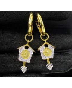ต่างหู ห่วงทอง นาฬิกาไขลาน ตุ้งติ้ง ฝังเพชร 28 เม็ด 0.50 กะรัต ทอง90 งานสวย น่ารักมาก นน. 8.05 g
