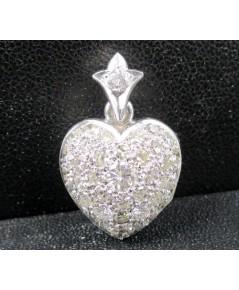จี้ เพชร กระจุกหัวใจ 0.18 กะรัต ล้อมเพชร 39 เม็ด 0.88 กะรัต เปิดได้ งานทองขาวโบราณ(ปาหะ) นน. 4.58 g