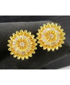 ต่างหู เพชรซีก กระจุกดอกจอก ทอง90 แป้นเกลียว งานเก่า หลุดจำนำ สวยมาก นน. 7.45 g