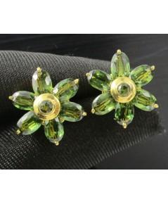 ต่างหู เขียวส่อง เจียร กระจุกดอกไม้ ทอง90 งานสวย น่ารักมาก นน. 6.56 g