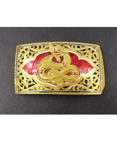 หัวเข็มขัด พญานาค ทองลงยา ฉลุลาย ทอง90 ทองเก่า งานโบราณ สวยน่าสะสม นน. 25.90 g