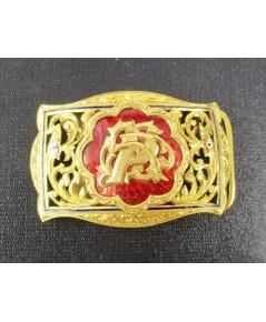 หัวเข็มขัด ตัวอักษร P ทองลงยา ฉลุลาย ทอง90 ทองเก่า งานโบราณ สวยน่าสะสม นน. 16.70 g