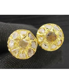 ต่างหู เพชรซีก กระจุกกลม ทอง90 งานเก่า หลุดจำนำ สวยมาก นน. 3.16 g