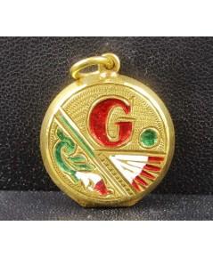 จี้ ตลับทองลงยา ตัวอักษร G หลัง R  ทอง90 สวยน่าสะสม นน. 7.00 g