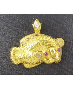 จี้ ปลามังกทอง พลอยนพเก้า ฝังเพชร 0.03 กะรัต ทอง90 งานสวย ความหมายดี นน. 13.18 g