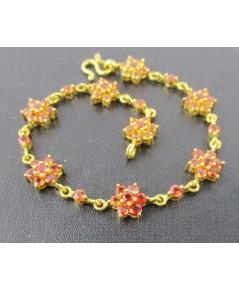 สร้อยข้อมือ Orange Sapphire กระจุกดอกพิกุล ทอง90 งานเก่า หลุดจำนำ สวยมาก นน. 12.74 g