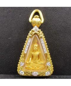 พระสมเด็จนางพญาจิตรลดา สก. เนื้อทองคำ ตัลบทองคำ ฝังเพชร 16 เม็ด 0.35 กะรัต นน. 38.60 g