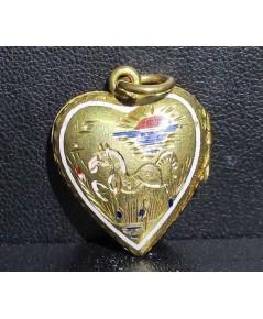 จี้ หัวใจ ตลับ ทองลงยา ปีมะแม + นกกระเรียน ทอง90 งานเก่า น่าเก็บสะสม นน. 7.76 g
