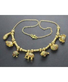 สร้อยคอ 3 สี เต่า หอย ปลา ช้าง ตุ้งติ้ง คั่นเม็ดทอง ทอง90 แบบงานโบราณ สวยมาก นน. 39.30 g