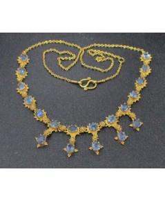 สร้อยคอ ไพลิน เจียร ระย้า ตุ้งติ้ง ทอง90 หลุดจำนำ งานสวยมาก นน. 10.98 g