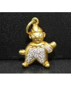 จี้ ตุ๊กตา ฝังเพชร 12 เม็ด 0.11 กะรัต ทอง90 งานสวย น่ารักมาก นน. 2.14 g