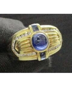 รหัสสินค้า: 47414   แหวน ไพลิน  ฝังเพชรเกสร 30 เม็ด 0.20 กะรัต ทอง18K งานเก่านน. 7.85 g