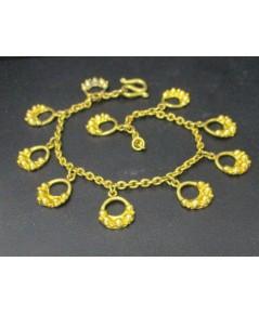 สร้อยข้อมือ ทอง100 ลูกไม้ปลายมือ ระย้า ตุ้งติ้ง ทองเก่า งานโบราณ นน. 15.14 g